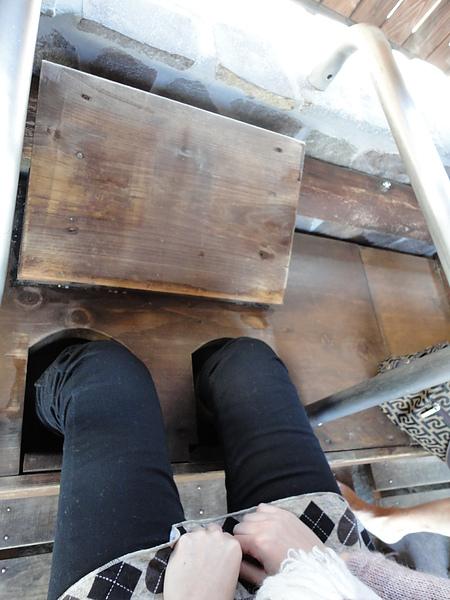 不過卡著蓋子把腳伸進去實在不容易,後來我們決定先把腳伸進洞中,然後才蓋上蓋子,這樣就容易多了