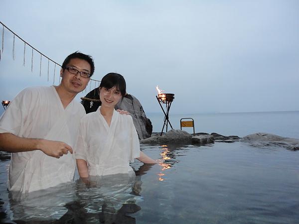泉水溫度維持在攝氏44.9度,冷熱適中