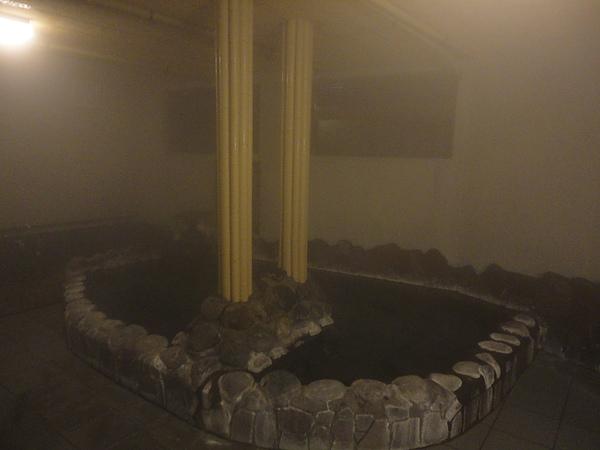 吃完晚餐後趕緊回飯店泡湯,我們住的飯店有多個室內外浴池,這是室內大浴場