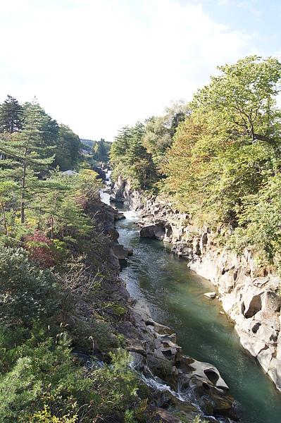 嚴美溪的溪水呈現漂亮的碧綠色,即使沒有紅葉相伴,仍然吸引很多遊客駐足觀賞