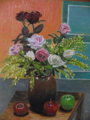 陶瓶中的花
