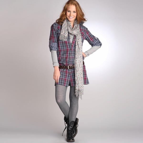 Robe chemise à carreaux manches longues pur coton double face.jpg