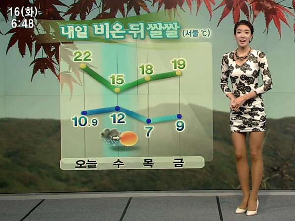 韓國美女主播林賢貞短裙報氣象 - 韓國美女主播林賢貞