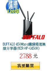 BUFFALO 450Mbps飆網極速無線分享器(WZR-HP-G450H)