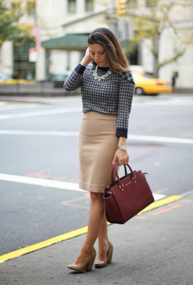 Houndstooth    J Crew Skirt and Michael Kors Selma  Corporate Catwalk by Olivia   Fashion Blogger in the Corporate World