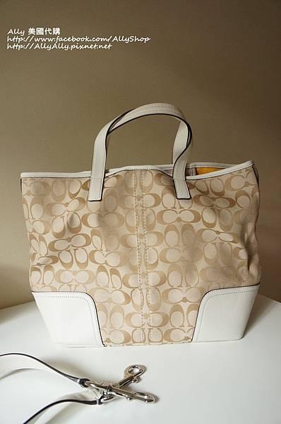 COACH 28981 織布材質拼接皮革 手提包 肩背包 6.JPG
