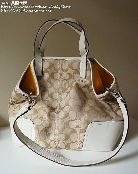 COACH 28981 織布材質拼接皮革 手提包 肩背包 3.JPG