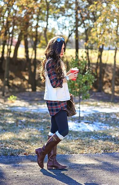 tory burch riding boots, free people boot socks, white puff vest, plaid tunic topshop, emily gemma.jpg