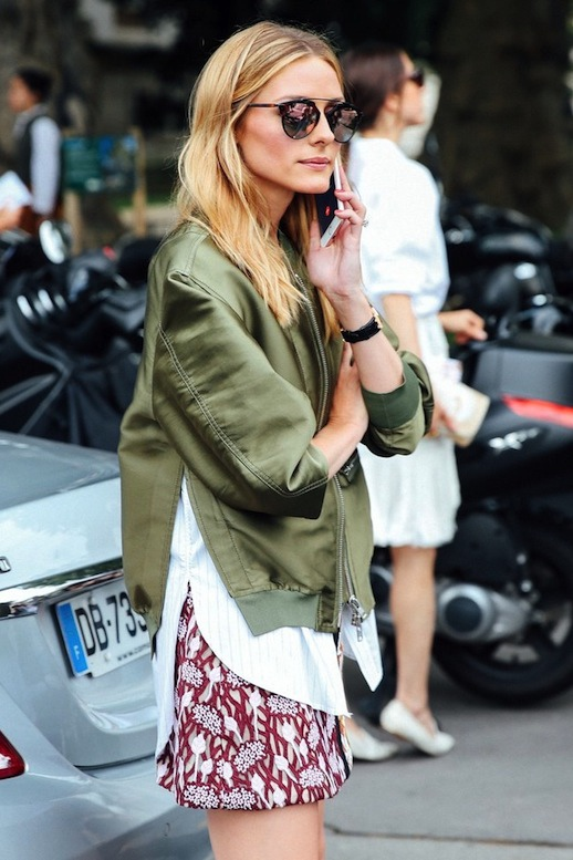 Le-Fashion-Blog-Street-Style-Olivia-Palermo-Sunglasses-Green-Bomber-Jacket-With-Built-In-White-Shirt-Printed-Mini-Skirt-Via-Teen-Vogue