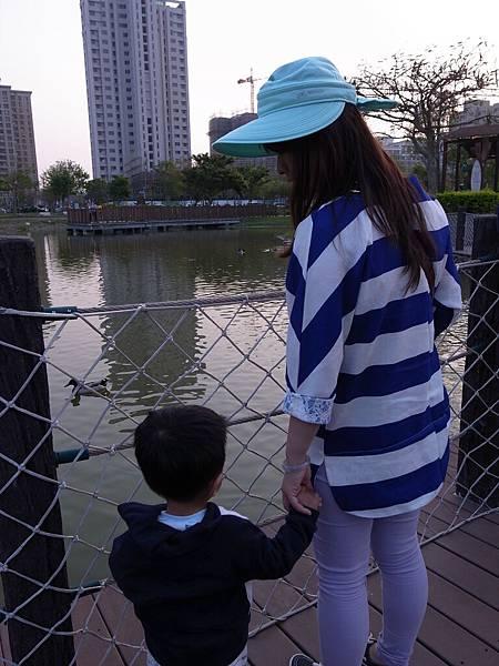 竹北高鐵站附近的中央公園看鴨鴨