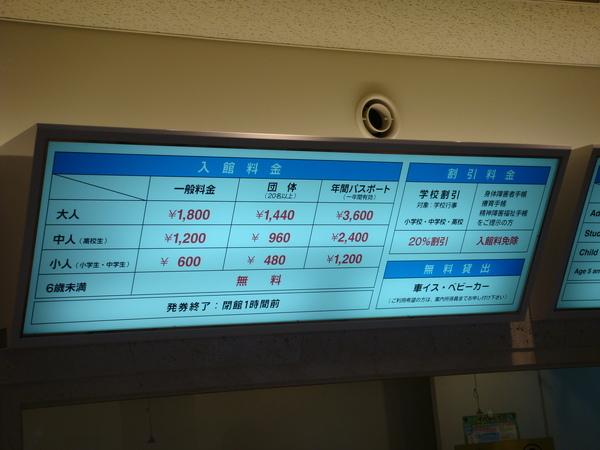 票價一覽表,原來日本是分大、中、小人的