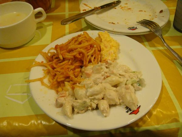 貝殼麵+蕃茄義大利麵+薯泥