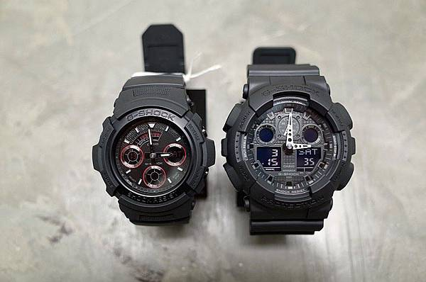 G-SHOCK AW591ML-1A, GA100-1A1 hullabaloo casio black military 1