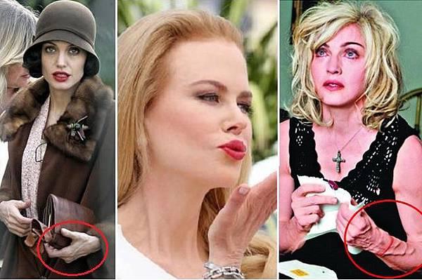 安潔莉娜裘莉(左起)、妮可基嫚、瑪丹娜都是顧好面子卻忘了顧雙手的實例.jpg