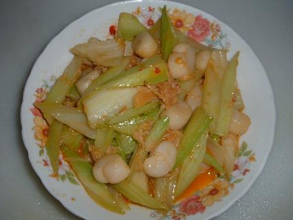 干貝炒芹菜,芹菜炒干貝