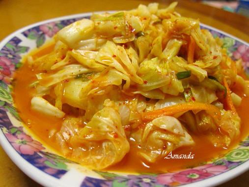 泡菜炒蔬菜