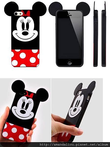 潮品米妮耳朵情侶iphone5手機殼5s手機套蘋果5/5s米奇手機殼萌物299