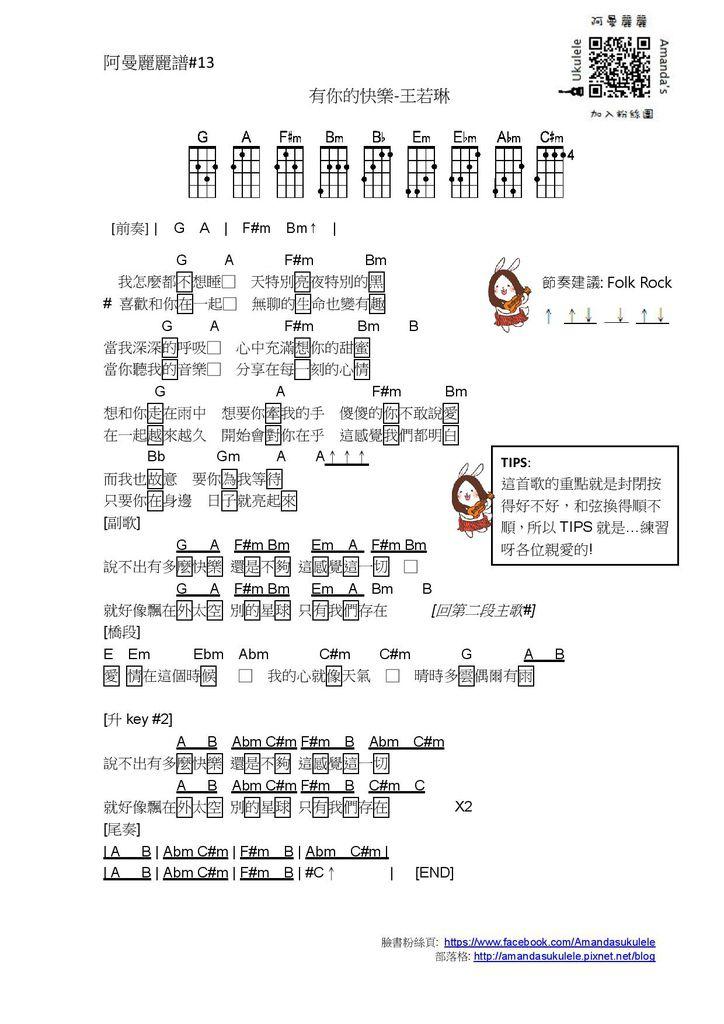 阿曼麗麗譜#13 有你的快樂-王若琳