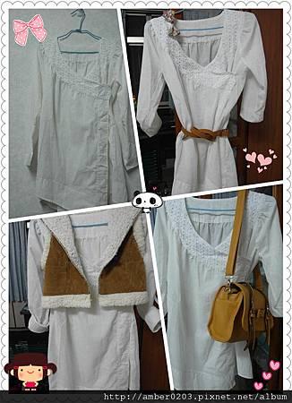 日系純白領雕花洋裝