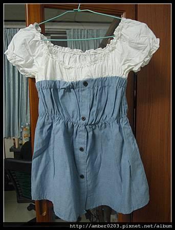 造型皺摺領拼接牛仔布料高腰上衣洋裝