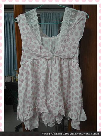 蕾絲裹胸大V領粉色點點夢幻二穿式蛋糕背心洋裝