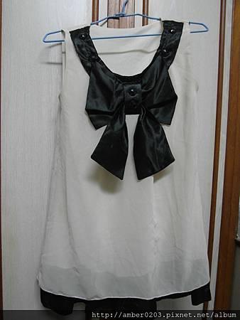 黑色緞面蝴蝶結雪紡洋裝
