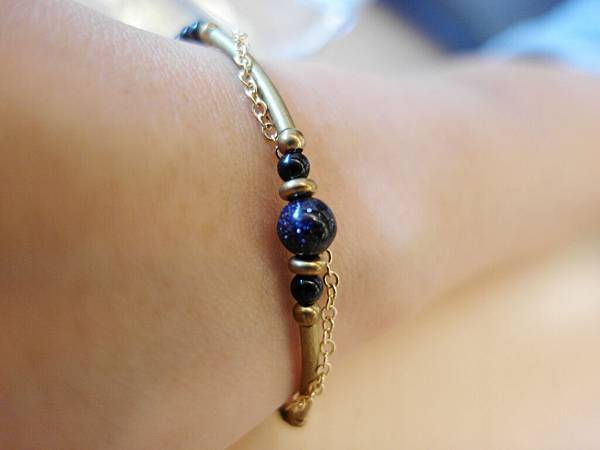 ❤~小纏綿~❤ 浪漫藍沙石黃銅鍊~