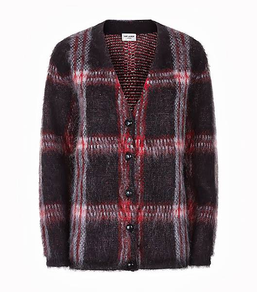 Saint Laurent Tartan Checkered Mohair Knit Cardigan.jpg
