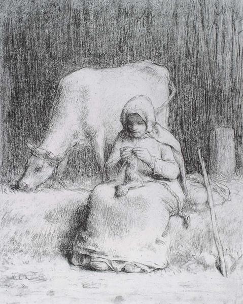 Millet_1852_Peasant girl watching her cow_(0016.19b).JPG