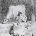 Millet_1852_Peasant girl watching her cow_(0016.19b).JPG