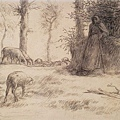Millet_c.1850-52_Landscape with shepherdess and sheep,winter_(0016.17b).JPG
