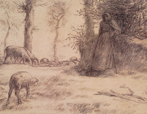 Millet_c.1850-52_Landscape with shepherdess and sheep,winter_detail_(0016.4a).JPG