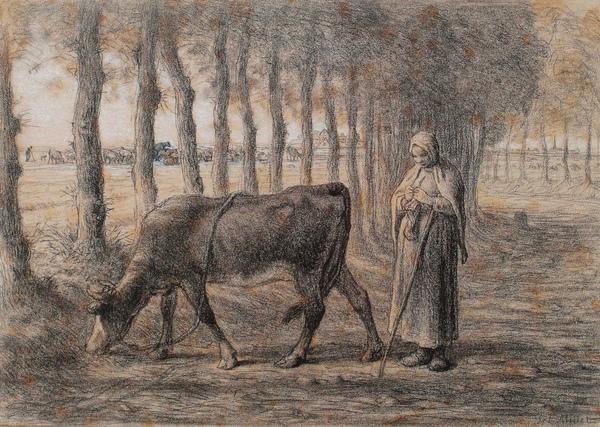 Millet_c.1856-57_Woman pasturing her cow_(0016.45b).JPG