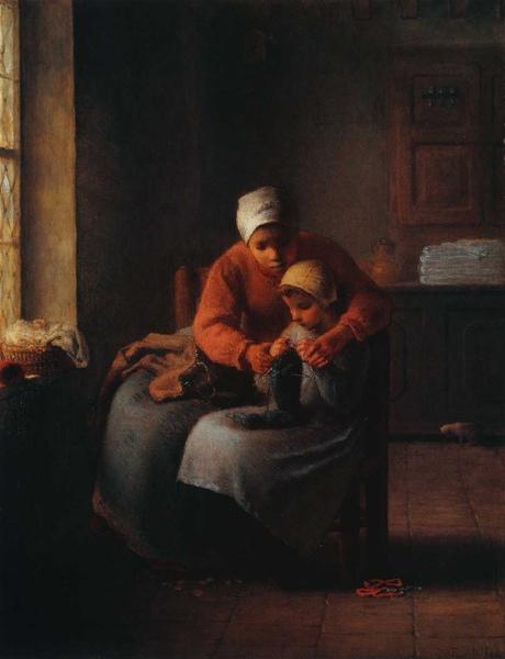 Millet_c.1858-60_The knitting lesson_(0016.52b).JPG