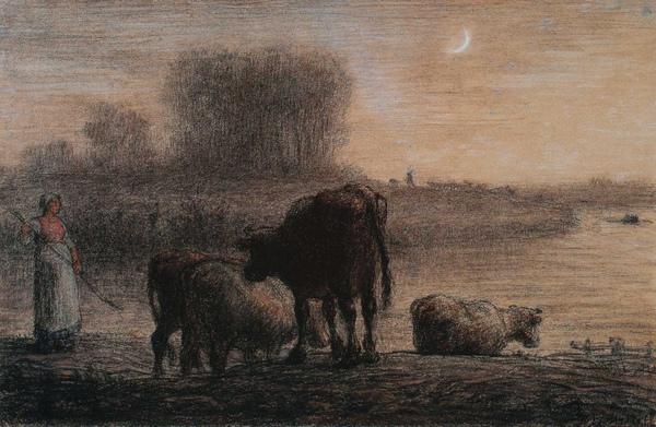 Millet_c.1863_Watering cow_(0016.59b).JPG