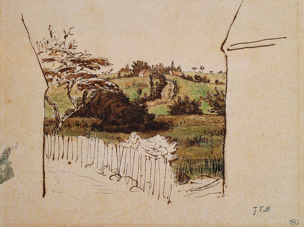 Millet_c.1866-67_Passage through the countryside seen between two houses_(0016.70b).JPG