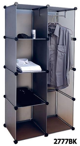魔術方塊組合式衣櫥與四格收納櫃(黑)