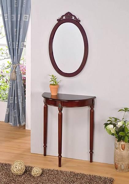 古典橢圓壁鏡與半圓桌組合