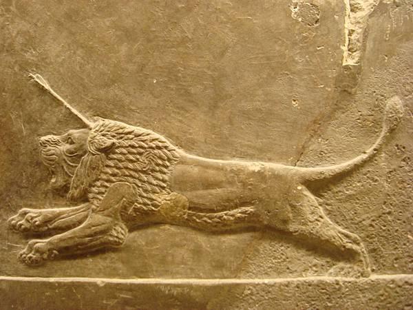 獵獅圖石雕