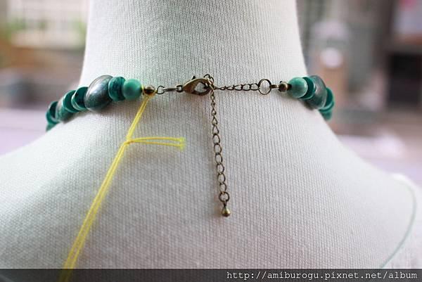 筒狀珠紗.綠松石含染色.綠瑪瑙-2