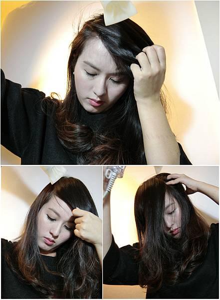 連同旁邊的頭髮(長的頭髮)一起用吹風機左右兩邊髮根撥乾 (2)