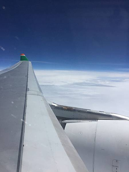 剛好坐在機翼旁