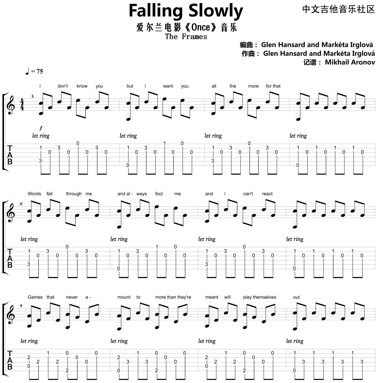 Falling Slowly吉他谱-1