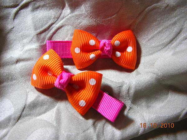 可愛點點風橘色緞帶蝴蝶結.JPG
