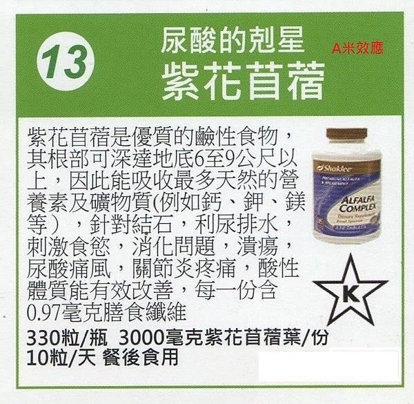 13號產品紫花苜蓿尿酸的剋星A米