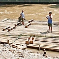 Bamboo raft taking