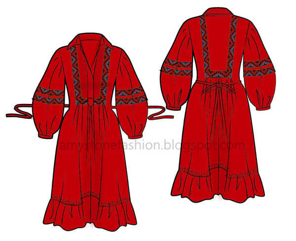 flat fashion sketch Folk Embroidered Dress 0101