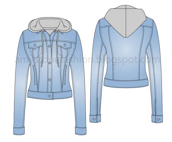 Flat Technical Fashion Drawing of hooded denim jacket 0031