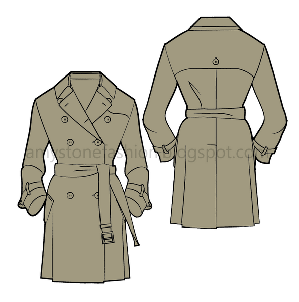 Fashion Flat Sketch Trench Coat 0150
