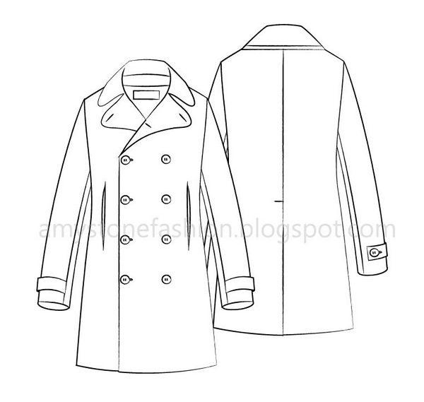 Pea coat flat  sketch template 0154